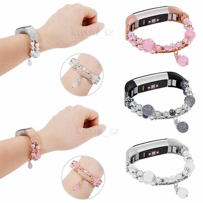 For Fitbit Alta /HR Agate Faux Pearl Beads Elastic Strap Watch Band Wristband