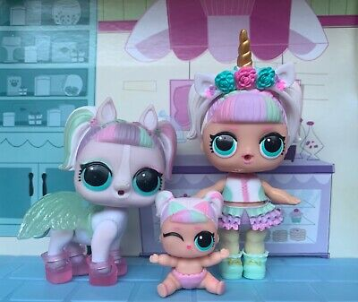 LOL Surprise Series 3 - Unicorn + Lil Unicorn + Pets Unipony Dolls Set.