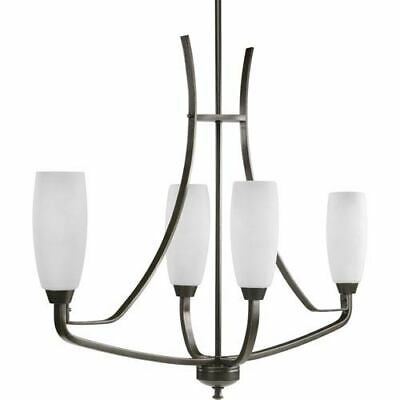 Wisten Antique Bronze Four-Light Chandelier with Etched Glass Tulip Shaped