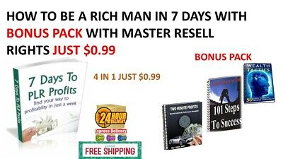 How To Be A Rich Man In 7 Days Pdf Bonus Pack Master Resell Rights Ebook $0.99