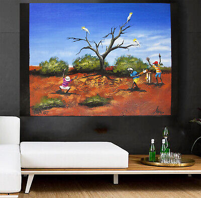 Cricket world cup Art signed aboriginal Painting Bush canvas Australia outback