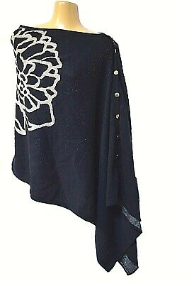 TS TAKING SHAPE Midnight Rose Poncho chic soft warm knit flattering cover NWT!