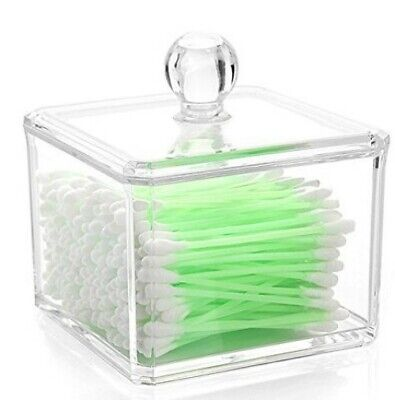 AKORD Clear Acrylic Cotton Wool Bud Dispenser Organiser Container Display