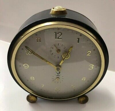 JAZ French Art Deco Bedside / Mantel Clock 1930s Working Order Antique Vintage