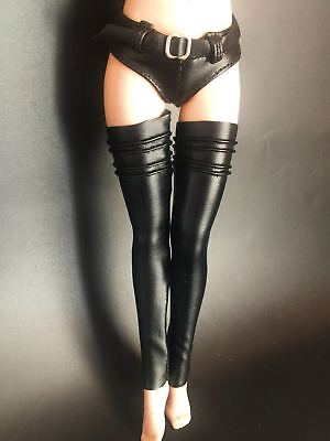"""1/6th PU Leather Pants+Stockings Model For 12"""" PH hotstuf UD Female Body Doll"""