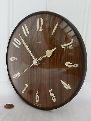 60s/70s METAMEC WALL CLOCK, Vintage WOOD EFFECT & BRASS, Retro HALLWAY QUARTZ