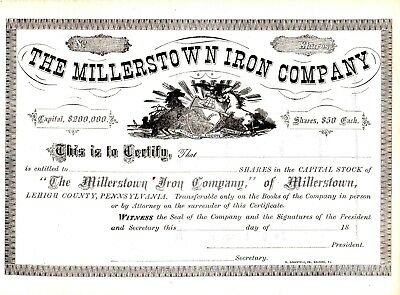 Millerstown Iron Company Stock Certificate Lehigh County Pennsylvania