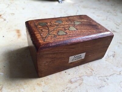 Möbel & Wohnen Fantastic Wooden Treasure Chest Trinket Box With Brass Elephant Inlaid Into Lid