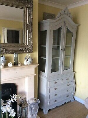 Armoire Linen cupboard cabinet on chest of drawers vintage rustic