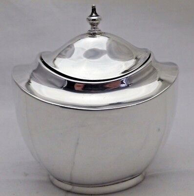 Antique Solid Sterling Silver Oval Navette Shaped Body Tea Caddy Canister