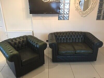 Stunning Chesterfield 2 Seater Sofa & Club Chair In Parliament Green