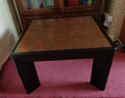Coffee / Side Table With Copper Inlay To Top 1980'S  Retro / Mcm