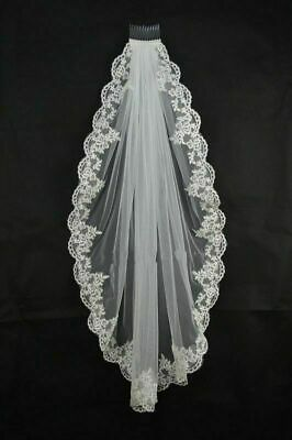 White/ Ivory Fingertip Length Bridal Wedding Bride Veil With Comb Lace Edge