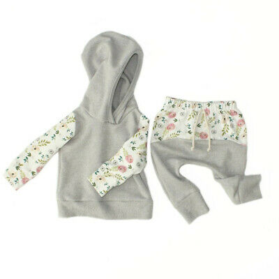 3-36M Newborn Baby Kids Girls Clothes Floral Hooded Tops+Long Pants Outfits Set