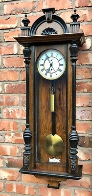Antique Victorian Walnut and Ebonised Single Weighted Vienna Wall Clock 8 Day