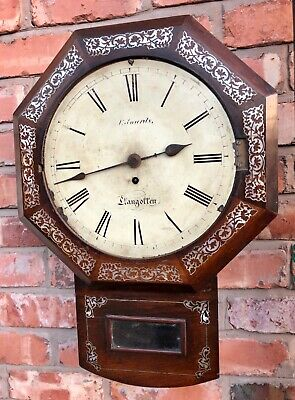 Antique Fusee Rosewood & Mother of Pearl Clock EDWARDS LLANGOLLEN
