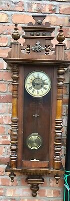 Lovely Massive Antique Walnut Vienna Wall Clock 8 Day