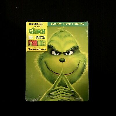 Dr. Seuss' The Grinch Steelbook (Blu-ray / DVD + Digital, 2018)