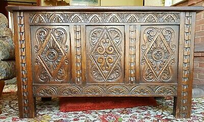 Stunning 1940's reproduction, 17th 18th Century style Carved Oak Coffer Blanket