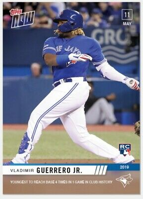 Vladimir Guerrero Jr. RC 2019 Topps NOW Youngest to Reach Base 4 Times Card #216
