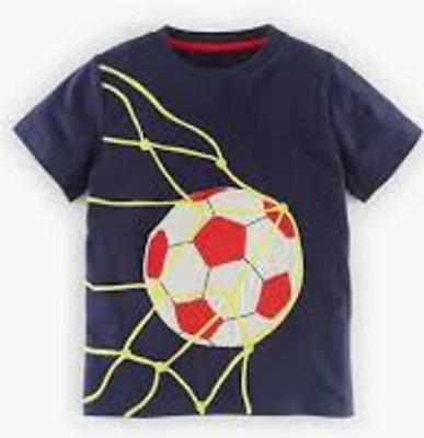 Boys top MINI BODEN tshirt baby 4 5 6 years sport navy football applique