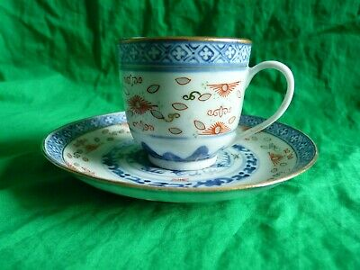 Chinese blue and white cup & saucer – signed to base - Dragon design