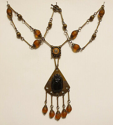 Vintage Art Deco Style Czech Amber Glass Bead Egyptian Revival Scarab Necklace