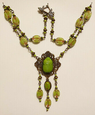 Vintage Art Deco Style Czech Green Glass Bead Egyptian Revival Scarab Necklace