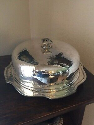 Arts & Crafts Mission Covered Dish Hand Hammered Silver Plate W.M. Mounts Derby