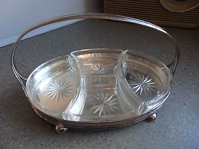 Vintage William Suckling of Sheffield Silver Plate Hors D'Oeurve Dish c.1925