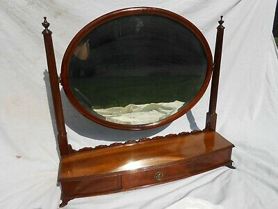 Antique Victorian / Edwardian Dressing Table Toilet Mirror. Drawer & Oval Mirror