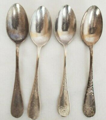 Whiting MFG Co Sterling Silver Spoons Engraved Antique Vintage Set of 4