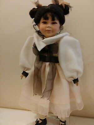"""Beautiful porcelain doll Delton Products 21"""" tall brunette pink dress"""