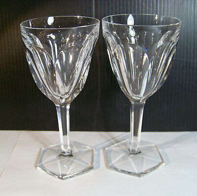 Baccarat Compiegne Crystal Tall Water Glass Pair  France lot B