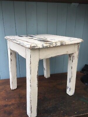Antique Wooden Oak Distressed Paint French Stool Side Table Seat Display Stand
