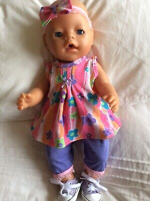 """Doll Clothes to fit 17"""" Baby Born doll ~ 3 Piece Set. Pink ~ Mauve - Flowers"""