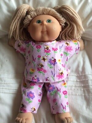 """DOLLS CLOTHES fit 16"""" CABBAGE PATCH DOLL - Pyjamas - Pink Bees & Flowers"""