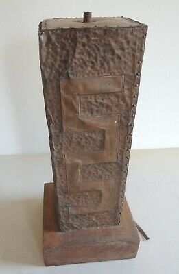 Vtg Arts and Crafts Lamp Base Hand Hammered Copper, leather, Wood