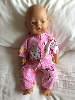 """DOLLS CLOTHES - Pyjamas to fit 17"""" Baby Born doll ~ Pink Spot Hello Kitty"""