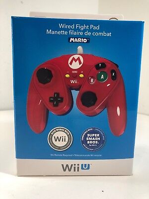 Nintendo Wii U Official MARIO Wired Fight Pad Classic Controller PDP Brand New
