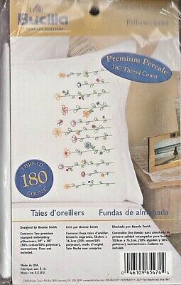 Bucilla Stamped Embroidery Pillow Case Pair Kit 20 by 30-Inch Tall Flowers New