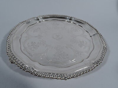 Regency Salver - Antique Georgian Tray - English Sterling Silver   Sibley - 1835