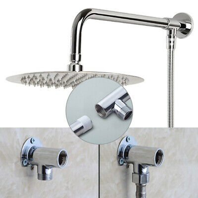 30cm Rain Shower Head Wall Arm Stainless Steel Extension Pipes+ Brass Base Mount