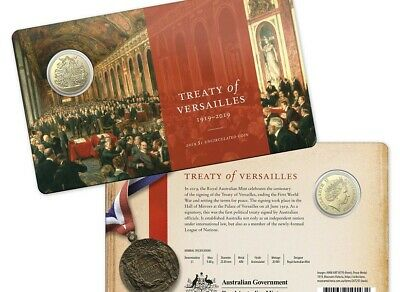 2019 $1 Uncirculated Coin. Centenary of the Treaty of Versailles