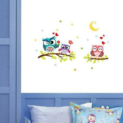 Kids DIY Colour Owl Birds Branch Wall Removable Nursery Mural Stickers Decal MH