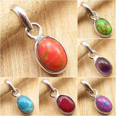 925 Silver Plated Oval ORANGE COPPER TURQUOISE & Other Gemstone Choice Pendant