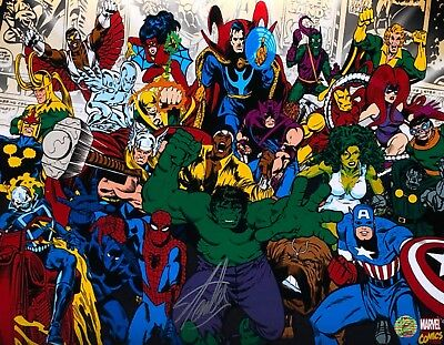 Stan Lee Signed Marvel Characters 16x20 Photo *Hulk Thor Spider-Man Stan Lee COA