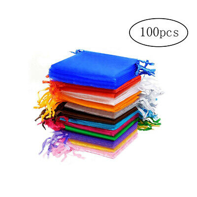 100pcs Organza Pouch Bags Gift Candy Bags Jewelry Pouches Multi-Color 7cmx9cm