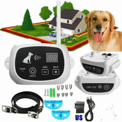 2 Dogs Electronic Fence Collar Hidden Waterproof Dog Containment System Safety