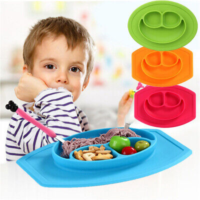Silicone Baby Snack Mat Toddler Placemat Kids Happy Mats Suction Table Food Tray